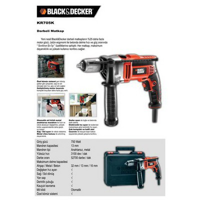 Black & Decker KR705K Darbeli matkap, 750W Matkap