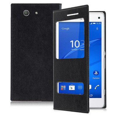 Microsonic Dual View Delux Kapaklı Sony Xperia Z3 Compact (z3 Mini) Kılıf Siyah Cep Telefonu Kılıfı