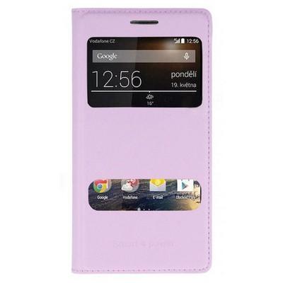 Microsonic Dual View Delux Kapaklı Vodafone Smart 4 Power Kılıf Pembe Cep Telefonu Kılıfı