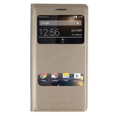 Microsonic Dual View Delux Kapaklı Vodafone Smart 4 Power Kılıf Sarı Cep Telefonu Kılıfı