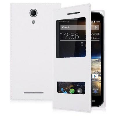 Microsonic Dual View Delux Kapaklı Vodafone Smart 4 Power Kılıf Beyaz Cep Telefonu Kılıfı