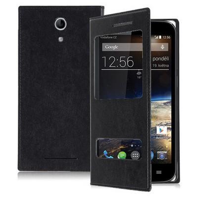 Microsonic Dual View Delux Kapaklı Vodafone Smart 4 Power Kılıf Siyah Cep Telefonu Kılıfı