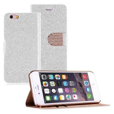 Microsonic Pearl Simli Taşlı Deri Iphone 6 Plus (5.5) Kılıf Beyaz Cep Telefonu Kılıfı