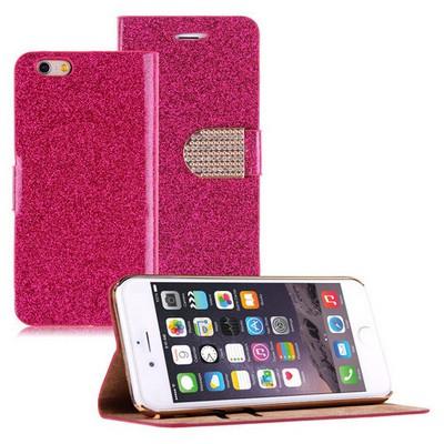 Microsonic Pearl Simli Taşlı Deri Iphone 6 Plus (5.5) Kılıf Pembe Cep Telefonu Kılıfı