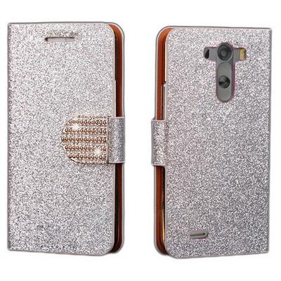 Microsonic Pearl Simli Taşlı Deri Kılıf Lg G3 Beyaz Cep Telefonu Kılıfı