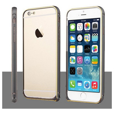 Microsonic Iphone 6 Plus (5.5'') Ultra Thin Metal Bumper Kılıf Black & Gold Cep Telefonu Kılıfı