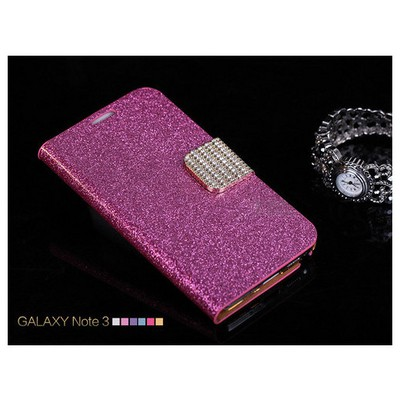 Microsonic Pearl Simli Taşlı Deri Samsung Galaxy Note 4 Kılıf Pembe Cep Telefonu Kılıfı