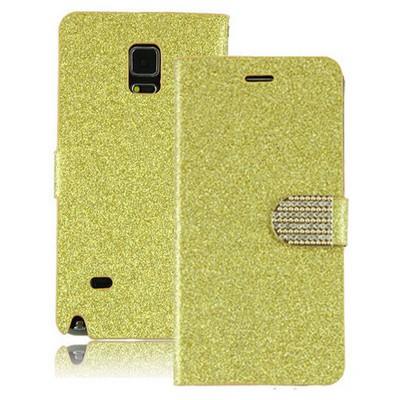 Microsonic Pearl Simli Taşlı Deri Samsung Galaxy Note 4 Kılıf Sarı Cep Telefonu Kılıfı