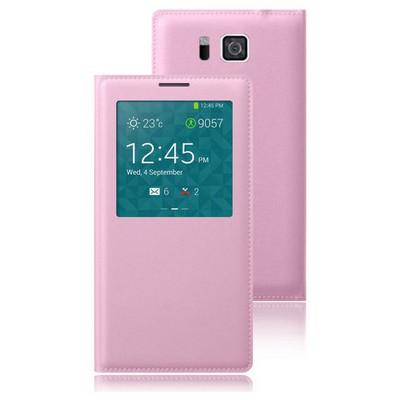 Microsonic View Slim Kapaklı Deri Samsung Galaxy Alpha Kılıf Akıllı Modlu Pembe Cep Telefonu Kılıfı