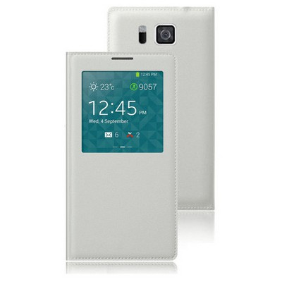 Microsonic View Slim Kapaklı Deri Samsung Galaxy Alpha Kılıf Akıllı Modlu Beyaz Cep Telefonu Kılıfı