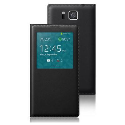 Microsonic View Slim Kapaklı Deri Samsung Galaxy Alpha Kılıf Akıllı Modlu Siyah Cep Telefonu Kılıfı