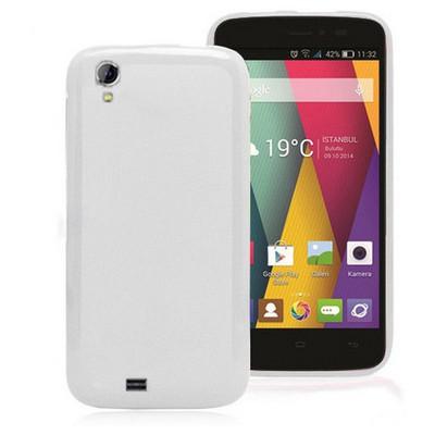 Microsonic Glossy Soft General Mobile Discovery 2 Mini Kılıf Beyaz Cep Telefonu Kılıfı