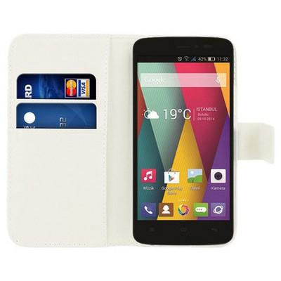 Microsonic Cüzdanlı Deri General Mobile Discovery 2 Mini Kılıf Beyaz Cep Telefonu Kılıfı