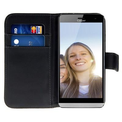 Microsonic Cüzdanlı Deri Casper Via V5 Kılıf Siyah Cep Telefonu Kılıfı