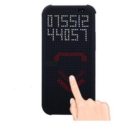 Microsonic View Cover Dot Delux Kapaklı Htc One E8 Kılıf Akıllı Modlu Mavi Cep Telefonu Kılıfı