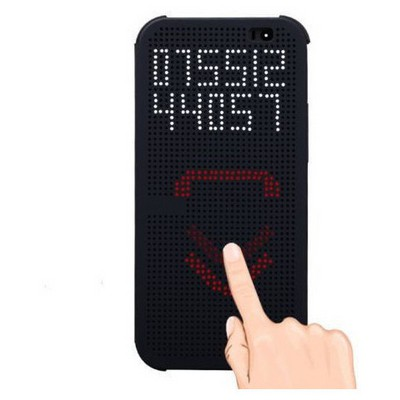 Microsonic View Cover Dot Delux Kapaklı Htc One E8 Kılıf Akıllı Modlu Kırmızı Cep Telefonu Kılıfı