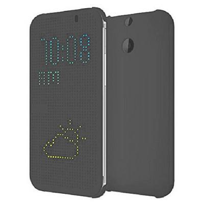 Microsonic View Cover Dot Delux Kapaklı Htc One E8 Kılıf Akıllı Modlu Gri Cep Telefonu Kılıfı