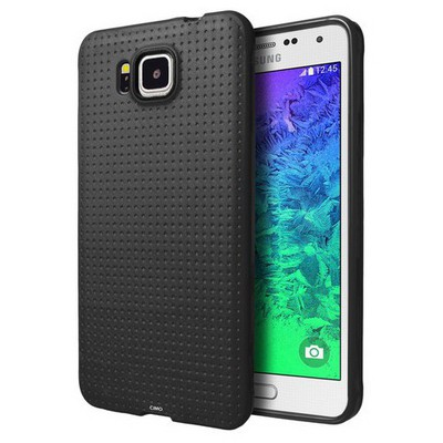 Microsonic Dot Style Silikon Samsung Galaxy Alpha Kılıf Siyah Cep Telefonu Kılıfı