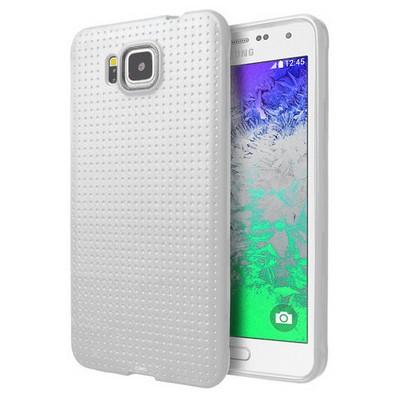 Microsonic Dot Style Silikon Samsung Galaxy Alpha Kılıf Beyaz Cep Telefonu Kılıfı