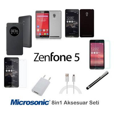 Microsonic Asus Zenfone 6 Kılıf & Aksesuar Seti 8in1 Cep Telefonu Kılıfı