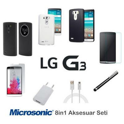 Microsonic Lg G3 Kılıf & Aksesuar Seti 8in1 Cep Telefonu Kılıfı