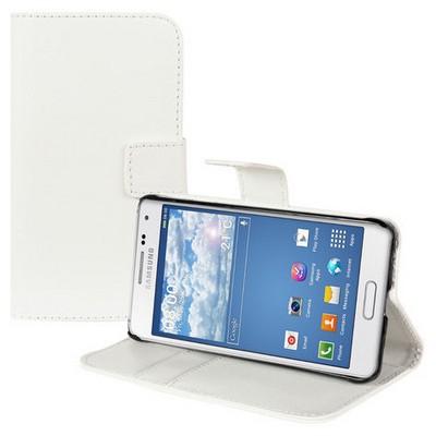Microsonic Cüzdanlı Standlı Deri Samsung Galaxy Alpha Kılıf Beyaz Cep Telefonu Kılıfı
