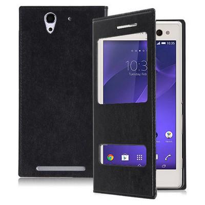 Microsonic Dual View Delux Kapaklı Sony Xperia C3 Kılıf Siyah Cep Telefonu Kılıfı
