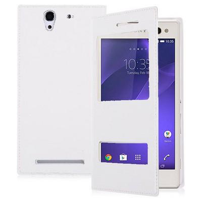 Microsonic Dual View Delux Kapaklı Sony Xperia C3 Kılıf Beyaz Cep Telefonu Kılıfı