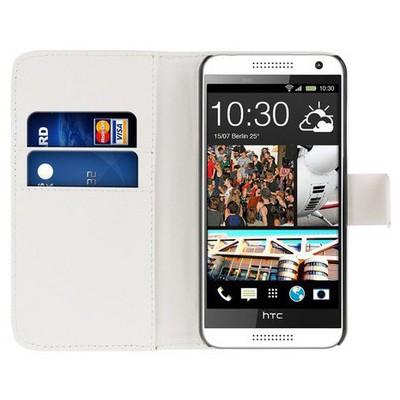 Microsonic Cüzdanlı Deri Htc Desire 610 Kılıf Beyaz Cep Telefonu Kılıfı