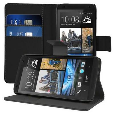 Microsonic Cüzdanlı Deri Htc Desire 601 Kılıf Siyah Cep Telefonu Kılıfı