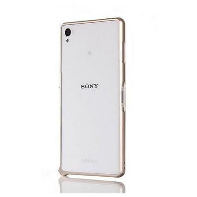 Microsonic Sony Xperia Z3 Thin Metal Bumper Çerçeve Kılıf Sarı Cep Telefonu Kılıfı