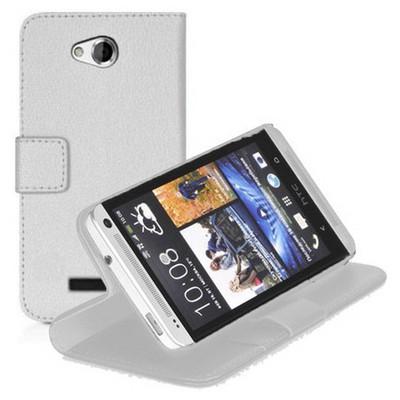 Microsonic Cüzdanlı Standlı Deri Htc Desire 616 Kılıf Beyaz Cep Telefonu Kılıfı