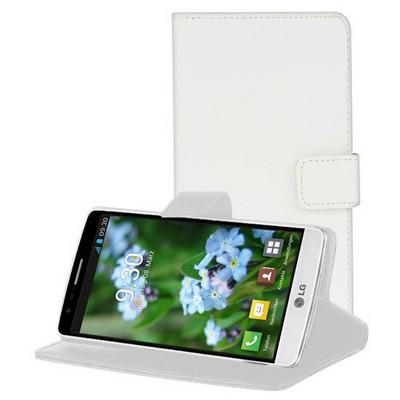 Microsonic Cüzdanlı Standlı Deri Lg G3 S (g3 Mini, G3 Beat) Kılıf Beyaz Cep Telefonu Kılıfı