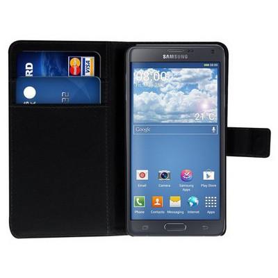 Microsonic Cüzdanlı Standlı Deri Samsung Galaxy Note 4 Kılıf Siyah Cep Telefonu Kılıfı