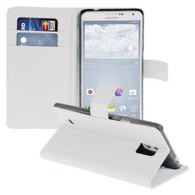 Microsonic Cüzdanlı Standlı Deri Samsung Galaxy Note 4 Kılıf Beyaz Cep Telefonu Kılıfı
