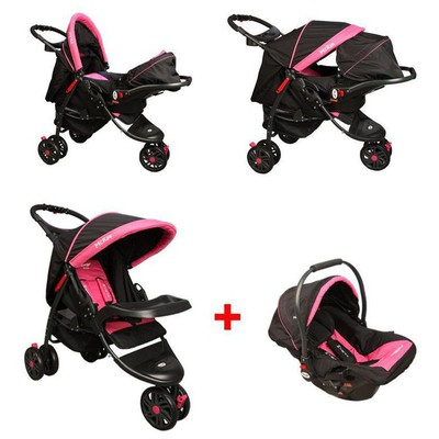 Mcrae Mc 815t Triple Jogger Travel Set 3 Tekerlekli Bebek Arabası - Pembe