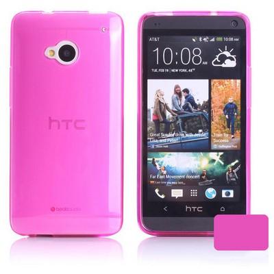 Microsonic Transparent Soft Htc One M7 Kılıf Pembe Cep Telefonu Kılıfı