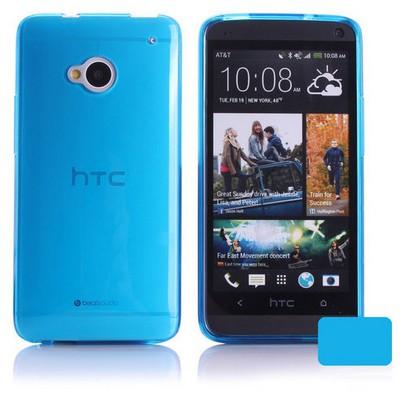 Microsonic Transparent Soft Htc One M7 Kılıf Mavi Cep Telefonu Kılıfı