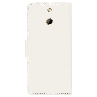 Microsonic Cüzdanlı Deri Htc One E8 Kılıf Beyaz Cep Telefonu Kılıfı