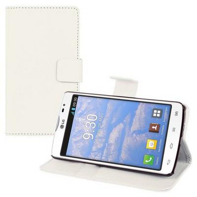 Microsonic Cüzdanlı Deri Lg L80 Kılıf Beyaz Cep Telefonu Kılıfı
