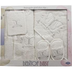 Bebitof 3144 Nakışlı Bebek Bornozu Krem Havlu & Bornoz