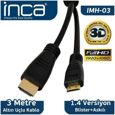 Inca IMH-03 3 metre Mını HDMI to HDMI 3D v1.4 Full HD Altın Uçlu 0 HDMI Kablolar