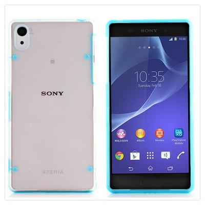 Microsonic Hybrid Transparant Sony Xperia Z2 Kılıf Mavi Cep Telefonu Kılıfı