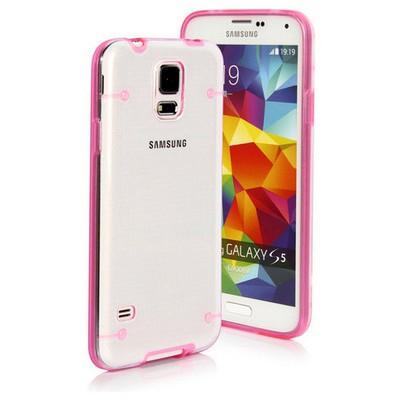 Microsonic Hybrid Transparant Samsung Galaxy S5 Kılıf Pembe Cep Telefonu Kılıfı