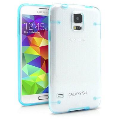 Microsonic Hybrid Transparant Samsung Galaxy S5 Kılıf Mavi Cep Telefonu Kılıfı