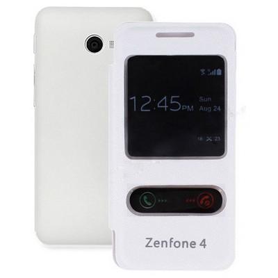 Microsonic Dual View Delux Kapaklı Asus Zenfone 4 Kılıf Beyaz Cep Telefonu Kılıfı