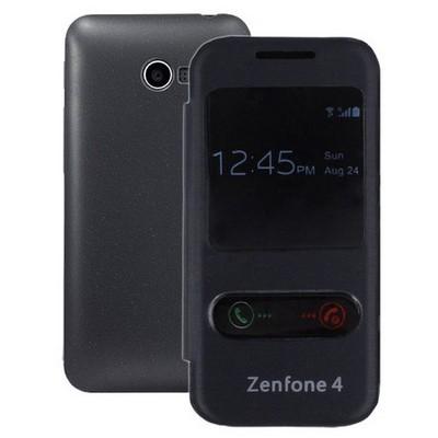 Microsonic Dual View Delux Kapaklı Asus Zenfone 4 Kılıf Siyah Cep Telefonu Kılıfı