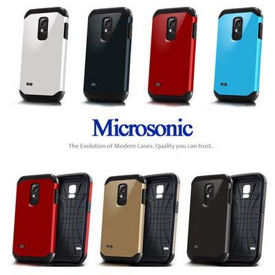 Microsonic Slim Fit Dual Layer Armor Samsung Galaxy S5 Mini Kılıf Sarı Cep Telefonu Kılıfı