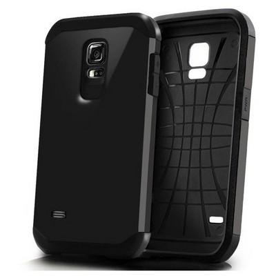 Microsonic Slim Fit Dual Layer Armor Samsung Galaxy S5 Mini Kılıf Siyah Cep Telefonu Kılıfı