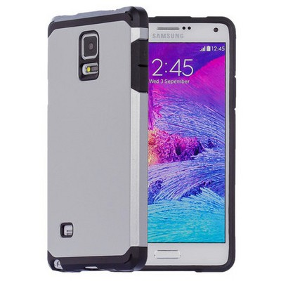 Microsonic Slim Fit Dual Layer Armor Samsung Galaxy Note 4 Kılıf Gümüş Cep Telefonu Kılıfı